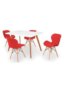 Conjunto Mesa De Jantar Gih 120X80Cm Branca Com 4 Cadeiras Slim - Vermelho