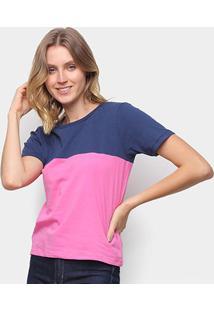 Camiseta Volare Básica Bicolor Feminina - Feminino-Marinho