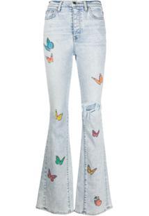 Amiri Calça Jeans Com Estampa De Borboleta - Azul