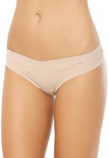 Calcinha Calvin Klein Underwear Fio Dental Corte Laser Skin Bege