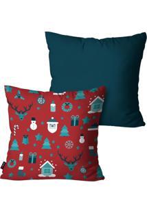 Kit Com 2 Capas Para Almofadas Pump Up Decorativas Natalinas Enfeites Azul 45X45Cm - Azul - Dafiti
