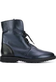 Hogl Ankle Boot Com Cadarço - Azul