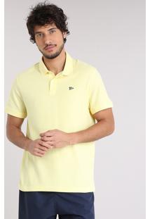 Polo Masculina Básica Manga Curta Em Piquet Amarela
