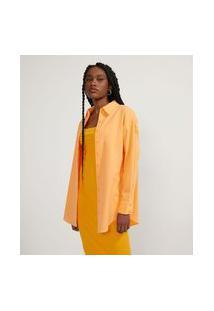 Camisa Alongada Em Tricoline Sem Estampa | Blue Steel | Primarycolor12 | P