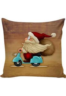 Capa De Almofada Papai Noel- Marrom & Azul Claro- 45Stm Home