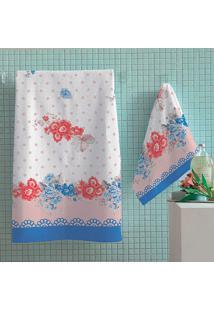 Jogo De Banho 4 Peças Estampado Quartzo 2 Banho 2 Rosto Lepper Azul