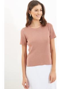 Camiseta Le Lis Blanc Luana Lurex Tricot Rosa Feminina (Rosê, Pp)