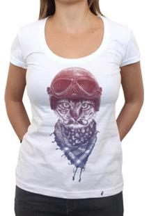 Biker Cat - Camiseta Clássica Feminina