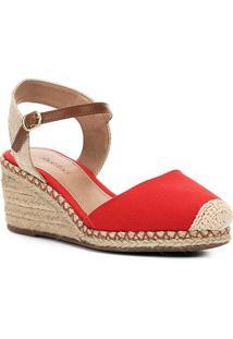 Sandália Anabela Shoestock Lona Feminina - Feminino-Vermelho