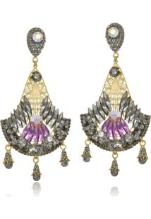 Brinco Le Diamond Metal Com Pedras Multicoloridas - Dourado - Feminino - Dafiti