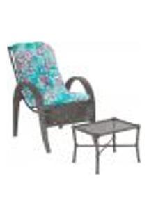 Jogo Cadeira 1Un E Mesa P/ Jardim Edicula Varanda Descanso Trama Napoli Plus Tabaco A22