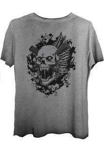 Camiseta Estonada Corte A Fio Estampada Costas Caveira