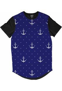 Camiseta Longline Long Beach Náutica Âncora E Poa Sublimada Azul