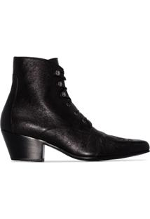 Saint Laurent Ankle Boot Susan Com Cadarço - Preto
