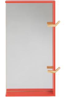 Espelho Para Banheiro Com Ganchos Yuri - Vermelho