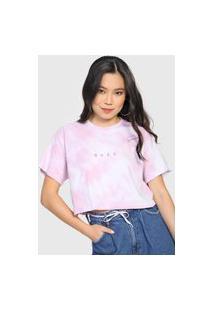 Camiseta Cropped Roxy Twist Tie Dye Lilás/Branca