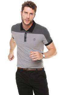 Camisa Polo Mr Kitsch Reta Recortes Cinza