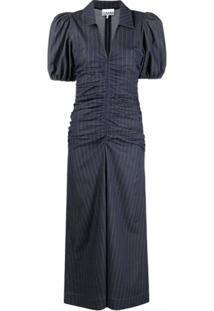Ganni Vestido Risca De Giz Franzido Com Mangas Bufantes - Azul