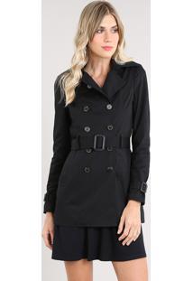 Casaco Trench Coat Feminino Transpassado Com Bolsos E Cinto Preto
