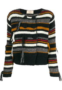 Maison Flaneur Double-Breasted Striped Cardigan - Preto