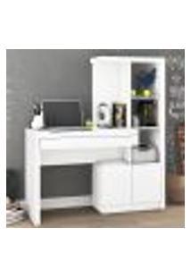 Estante Escrivaninha Com 1 Gaveta E 4 Nichos - Branco