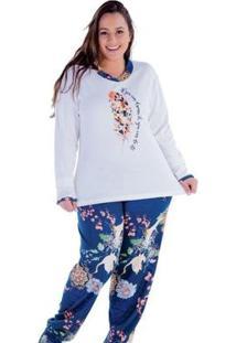 Pijama Plus Size Victory Inverno Frio Longo Feminino - Feminino-Azul Escuro