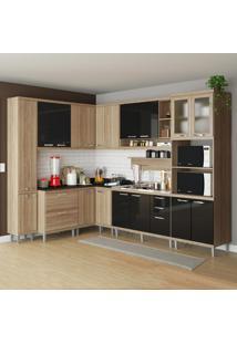 Cozinha Completa 16 Portas 5 Gavetas Sicília 5802 Preto/Argila - Multimóveis