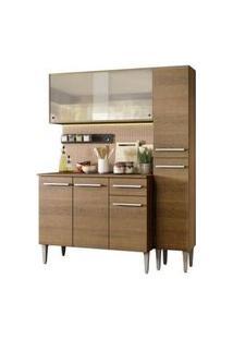 Cozinha Compacta Madesa Emilly Force Com Armário, Balcão E Paneleiro Rustic