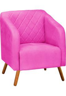 Poltrona Decorativa Silmara Suede Pink Pés Palito - D'Rossi
