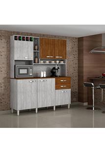Armário De Cozinha 6 Portas Topázio Sallêto Móveis Rovere/Nogueira