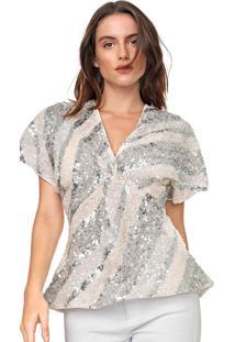 Blusa Colcci Tule Paet㪠Listrado Branca/Prata - Branco - Feminino - Poliã©Ster - Dafiti