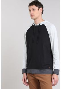 Camiseta Masculina Botonê Raglan Com Capuz Manga Longa Preta