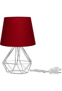 Abajur Diamante Dome Vermelho Com Aramado Cromado - Vermelho - Dafiti