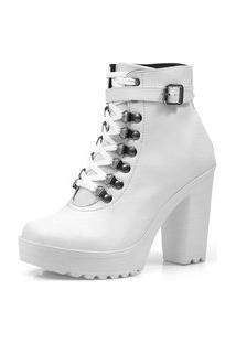 Bota Navit Shoes Tratorada Fivela Branco