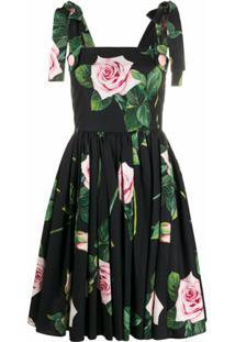 Dolce & Gabbana Vestido Evasê Com Estampa De Rosas - Preto