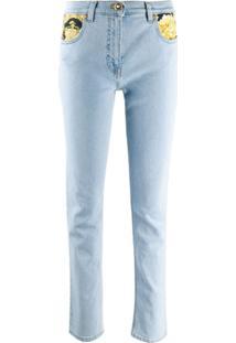 Versace Calça Jeans Com Estampa Barroca - Azul