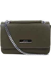Bolsa Santa Lolla Mini Bag Caviar Alça Corrente Feminina - Feminino-Musgo