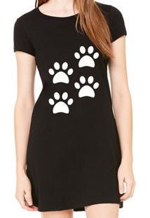 Vestido Criativa Urbana Estampado 4 Quatro Patas Dog Pets - Feminino-Preto