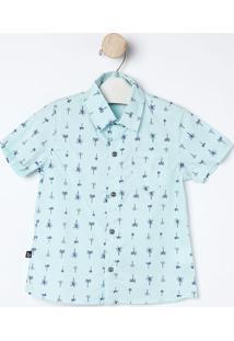 Camisa Coqueiros- Verde Água & Azul Marinho- Bakulelbakulelê