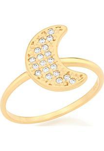 Anel Skinny Ring Lua Com Zircônias Rommanel - Feminino-Dourado