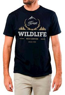 Camiseta Masculina Eco Canyon Wildlife Preto