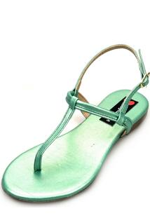 Sandália Rasteira Love Shoes Flat Slim Fio Dental Metalizada Verde