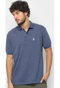 Camisa Polo U.S. Polo Assn Básica Lisa Masculina - Masculino-Marinho