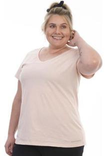Blusa Esportiva Decote V Plus Size Feminina - Feminino-Rosa Bebê