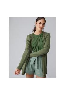 Amaro Feminino Cardigan Básico De Viscolinho, Verde Militar