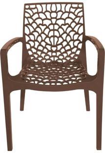 Cadeira Gruver Com Braco Polipropileno Cafe - 30476