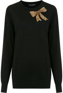 Dolce & Gabbana Blusa De Tricô Com Aplicação - Preto