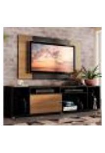 Rack Madesa Cancun E Painel Para Tv Até 58 Polegadas - Preto/Rustic D87K