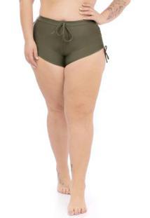 Calcinha Shorts Plus Size Verde Militar