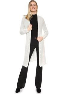 Maxi Cardigan Mercatto Tricot Liso Off-White